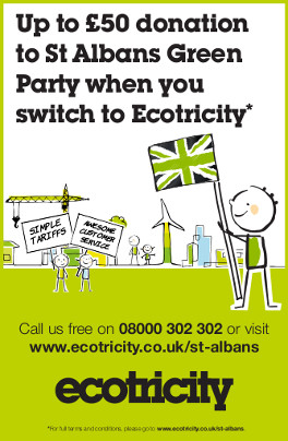 Up to £50 donation to St Albans Green Party when you switch to Ecotricity*